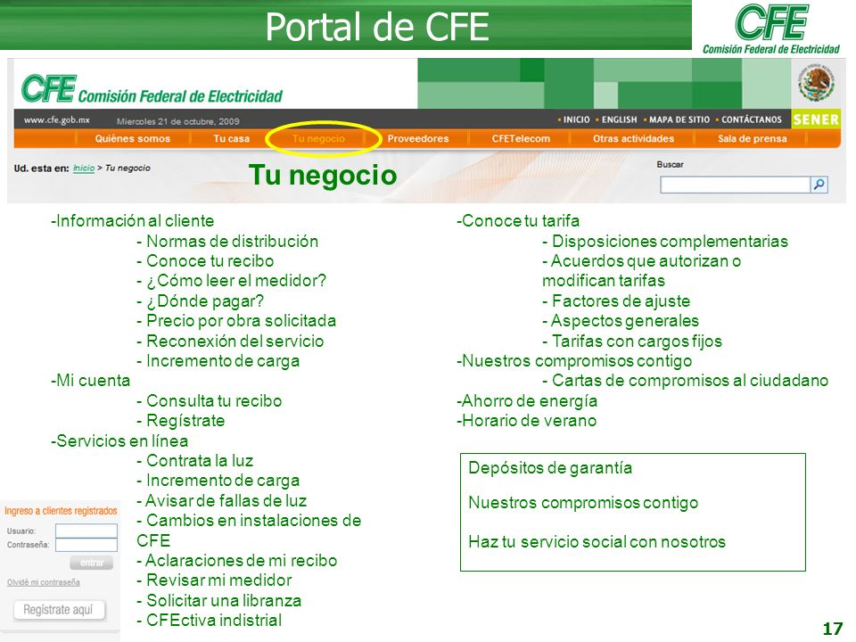 Portal de CFE Tu negocio Información al cliente