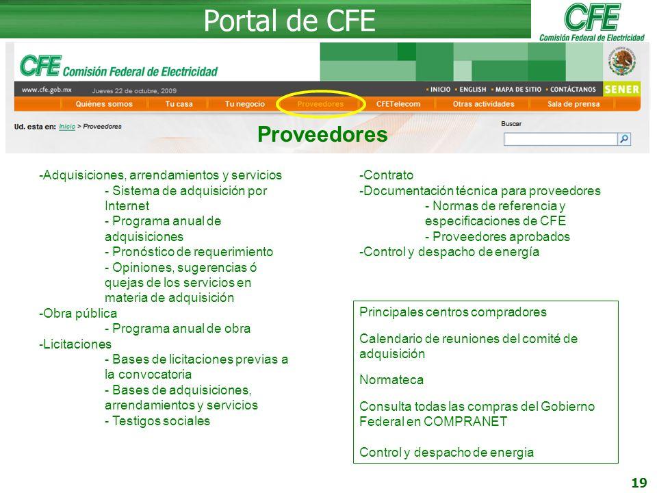 Portal de CFE Proveedores Adquisiciones, arrendamientos y servicios