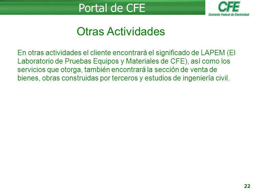 Portal de CFE Otras Actividades