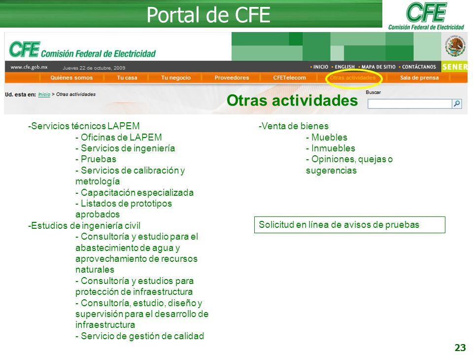 Portal de CFE Otras actividades Servicios técnicos LAPEM