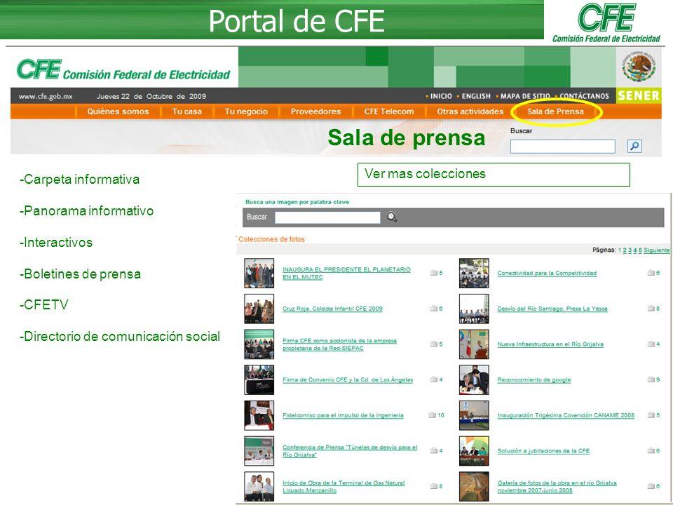 Portal de CFE Sala de prensa Ver mas colecciones Carpeta informativa
