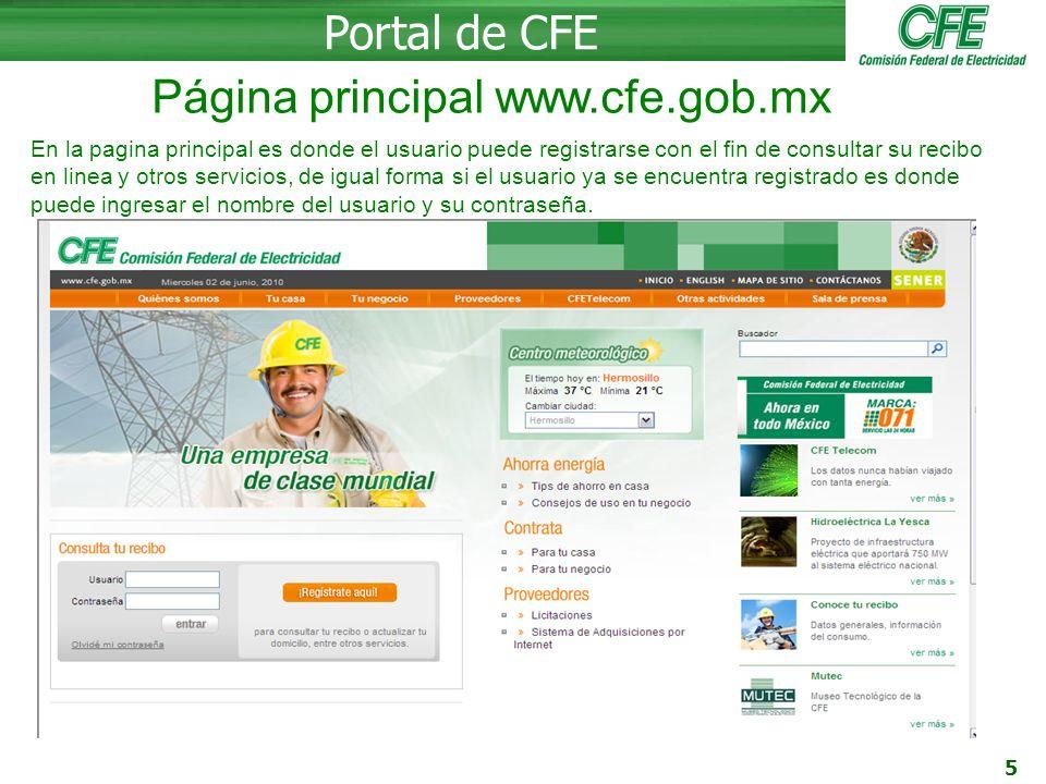 Página principal www.cfe.gob.mx