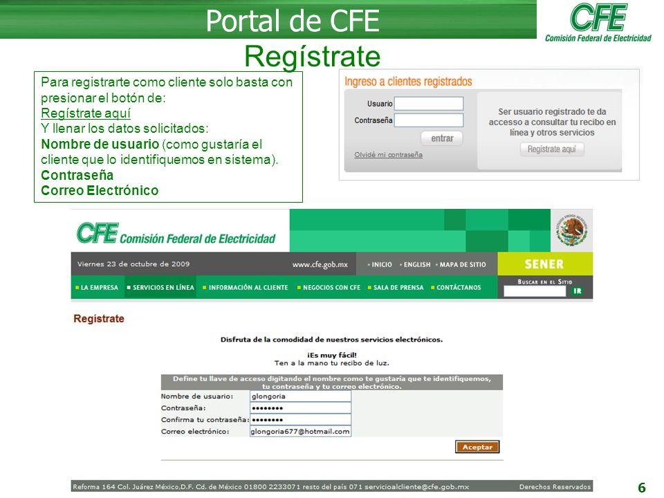 Portal de CFE Regístrate