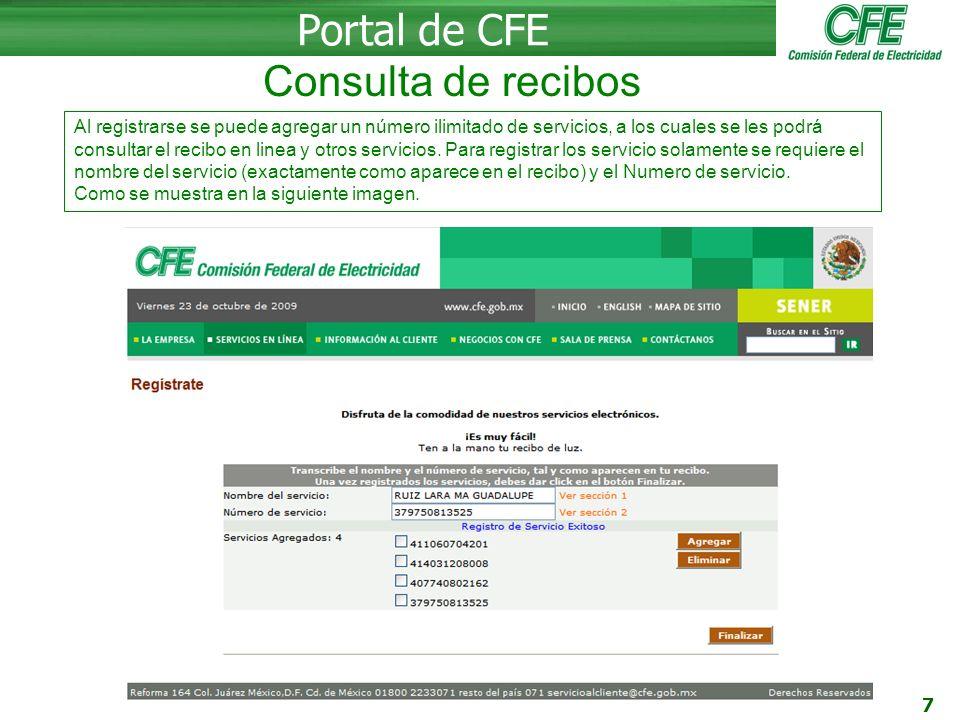 Portal de CFE Consulta de recibos