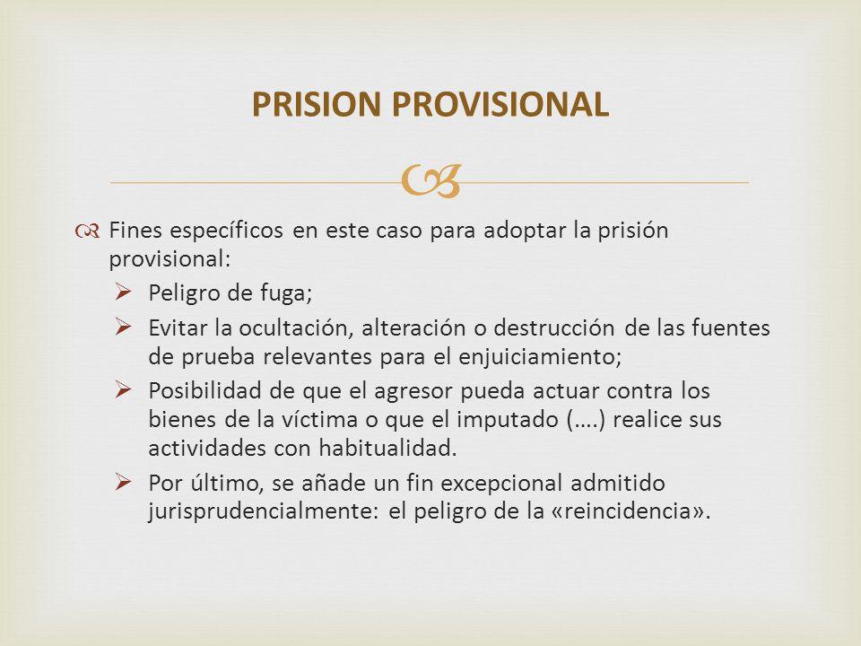 PRISION PROVISIONALFines específicos en este caso para adoptar la prisión provisional: Peligro de fuga;