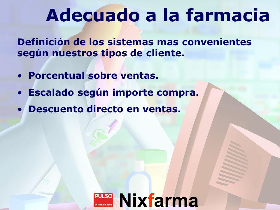 Adecuado a la farmacia Definición de los sistemas mas convenientes