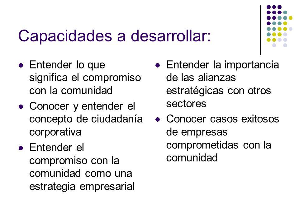 Capacidades a desarrollar: