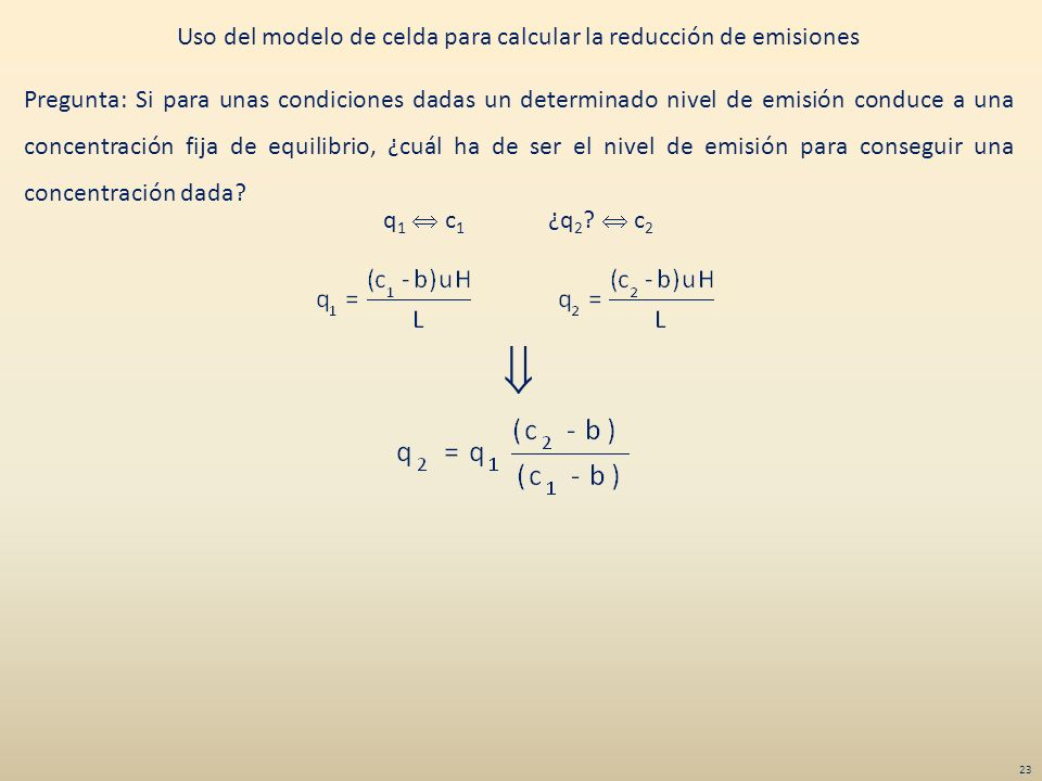 Uso del modelo de celda para calcular la reducción de emisiones