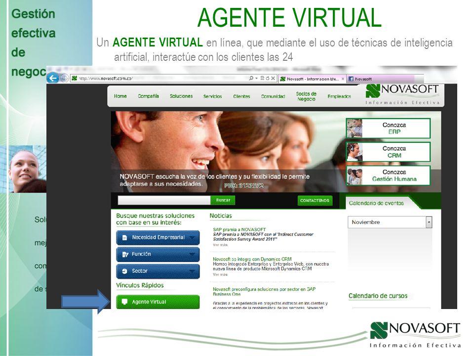 AGENTE VIRTUAL Un AGENTE VIRTUAL en línea, que mediante el uso de técnicas de inteligencia artificial, interactúe con los clientes las 24.