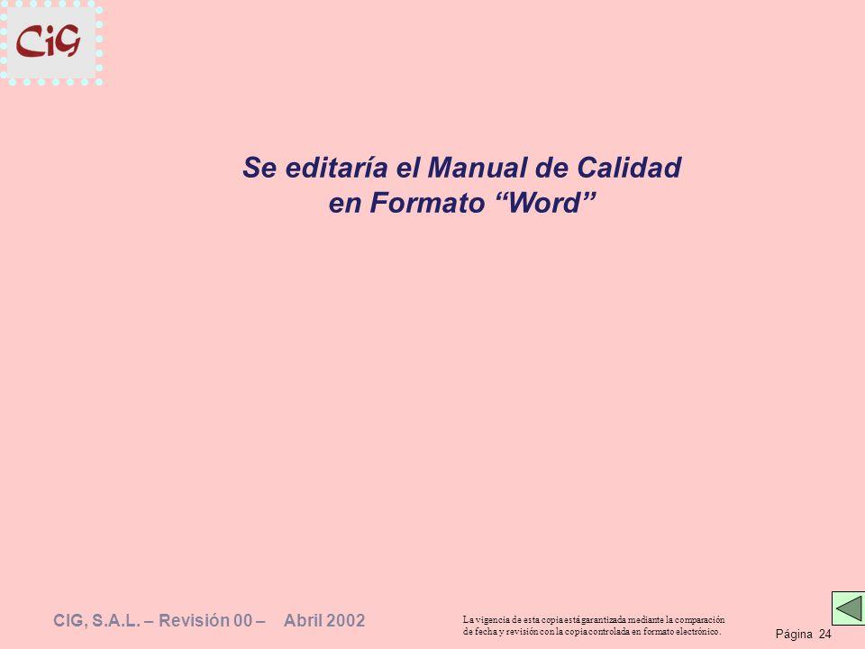 Se editaría el Manual de Calidad en Formato Word