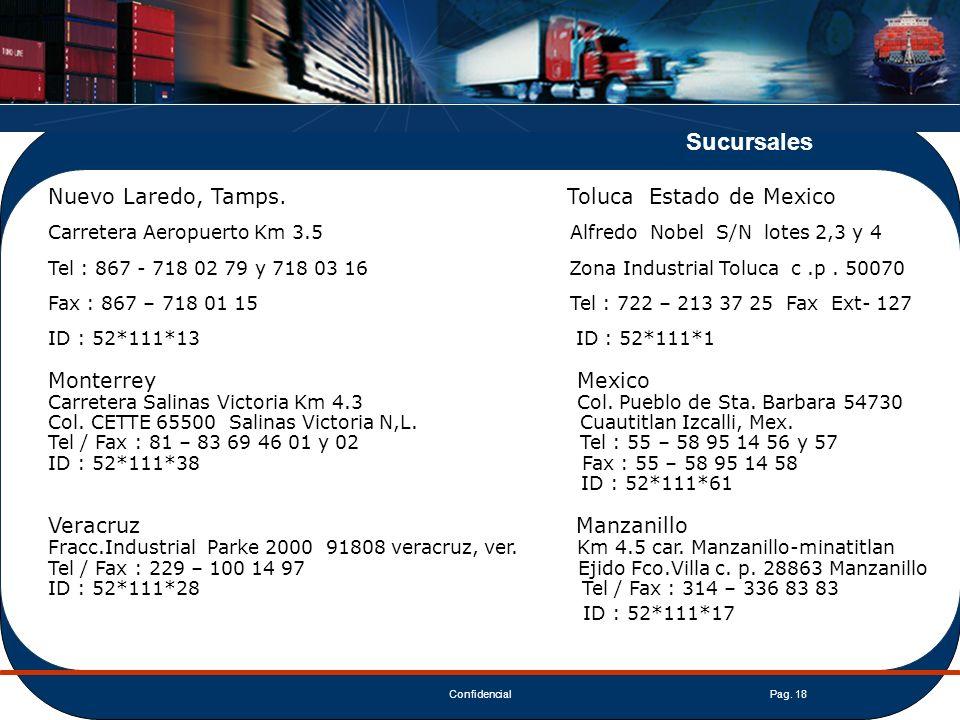 Sucursales ID : 52*111*17 Nuevo Laredo, Tamps. Toluca Estado de Mexico