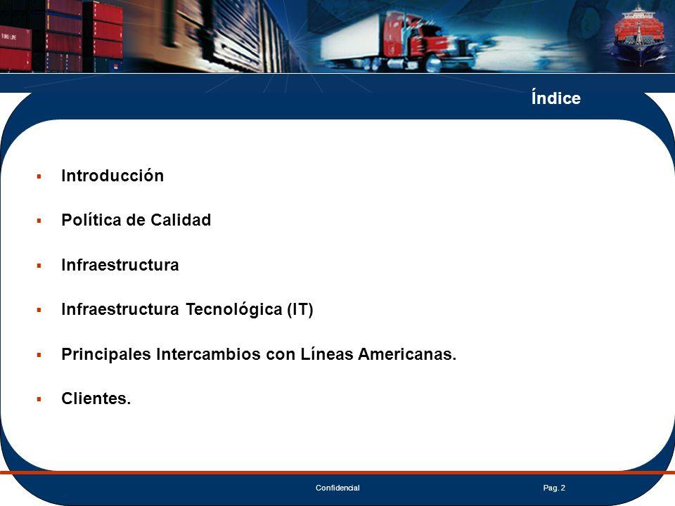 Índice Introducción. Política de Calidad. Infraestructura. Infraestructura Tecnológica (IT) Principales Intercambios con Líneas Americanas.