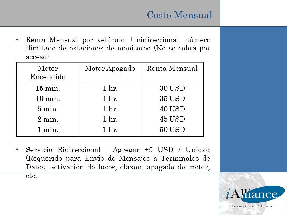 Costo Mensual Renta Mensual por vehículo, Unidireccional, número ilimitado de estaciones de monitoreo (No se cobra por acceso)
