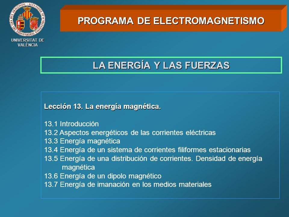 PROGRAMA DE ELECTROMAGNETISMO LA ENERGÍA Y LAS FUERZAS