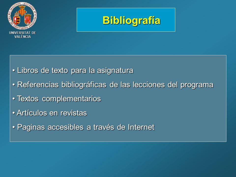 Bibliografía Libros de texto para la asignatura