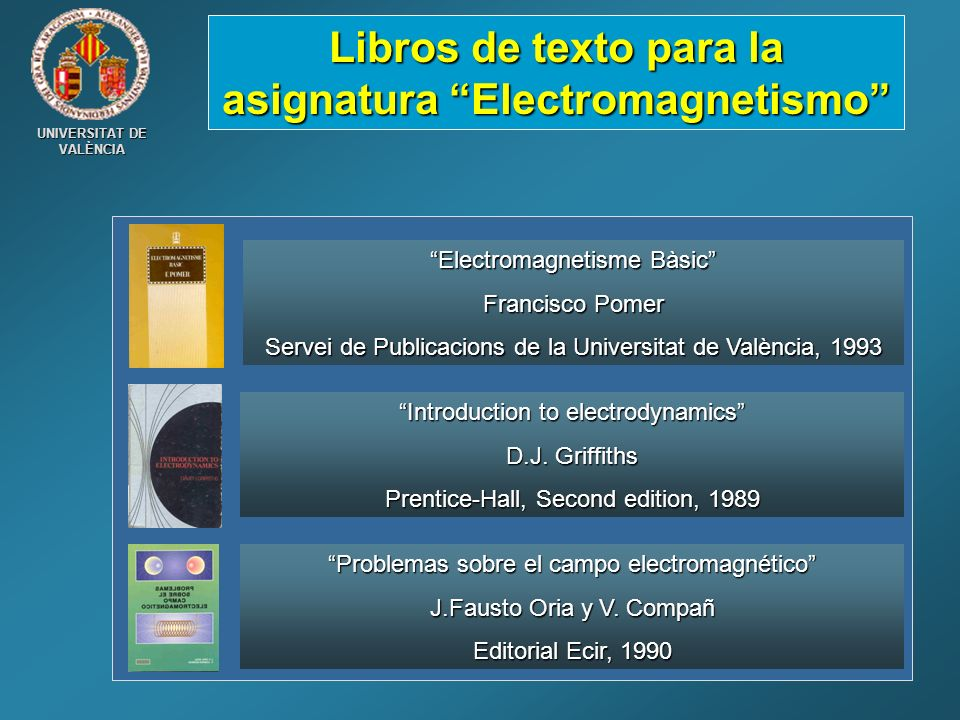 Libros de texto para la asignatura Electromagnetismo