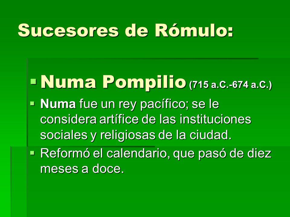 Sucesores de Rómulo: Numa Pompilio (715 a.C.-674 a.C.)