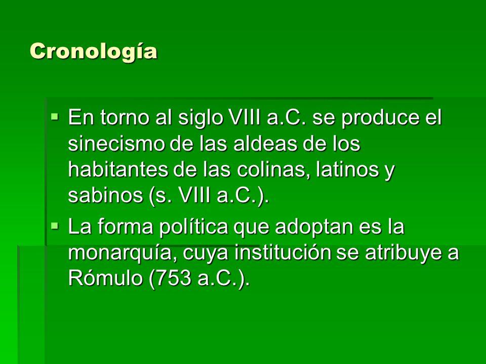 Cronología En torno al siglo VIII a.C. se produce el sinecismo de las aldeas de los habitantes de las colinas, latinos y sabinos (s. VIII a.C.).
