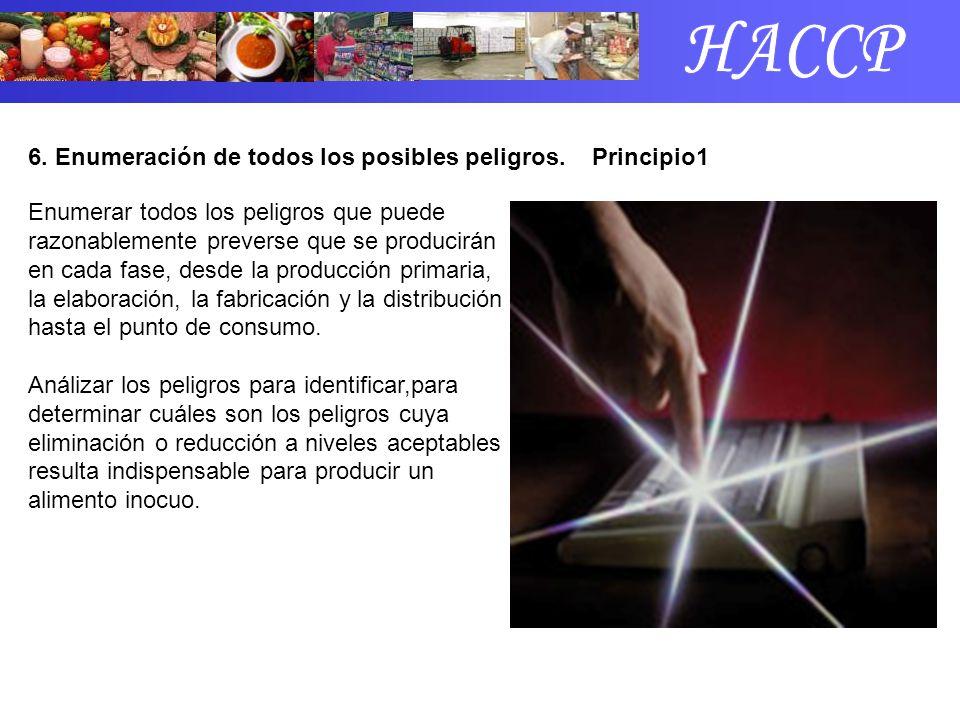HACCP 6. Enumeración de todos los posibles peligros. Principio1