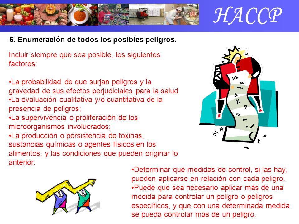 HACCP 6. Enumeración de todos los posibles peligros.