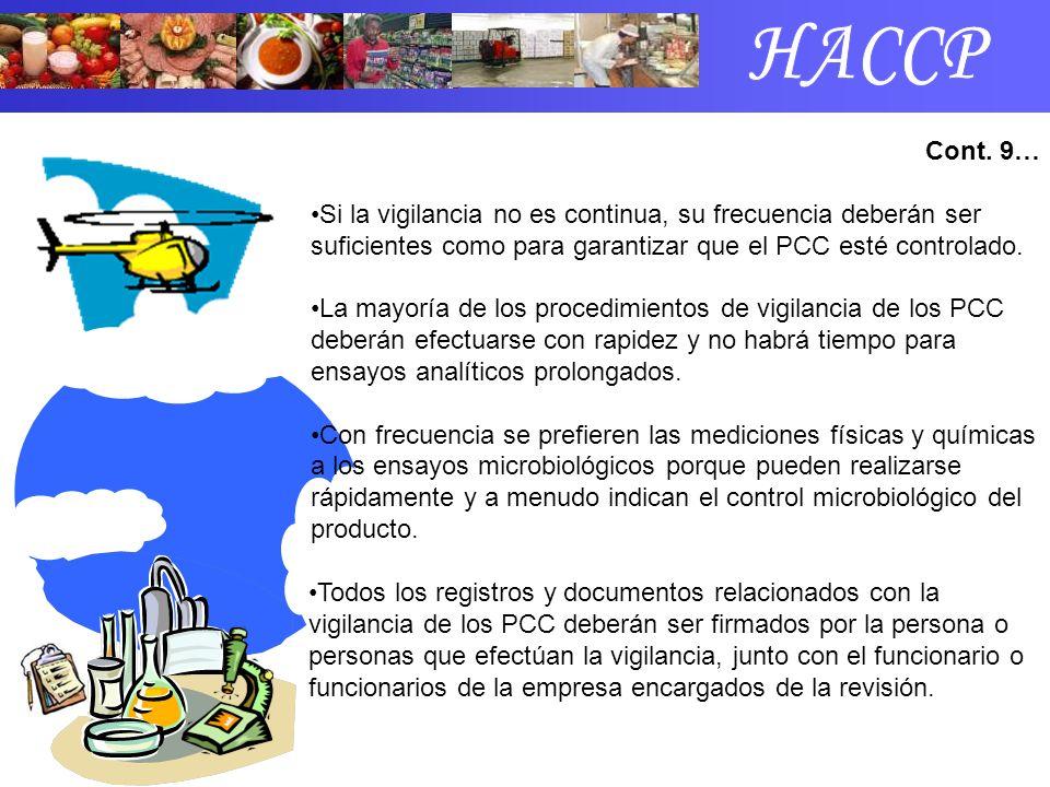 HACCP Cont. 9… Si la vigilancia no es continua, su frecuencia deberán ser suficientes como para garantizar que el PCC esté controlado.