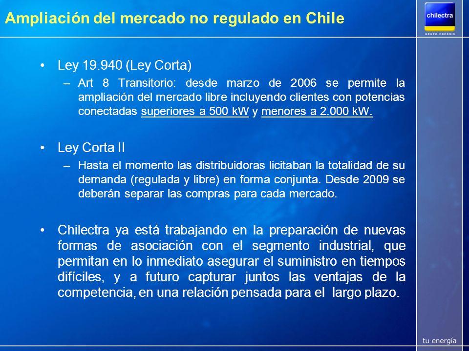 Ampliación del mercado no regulado en Chile