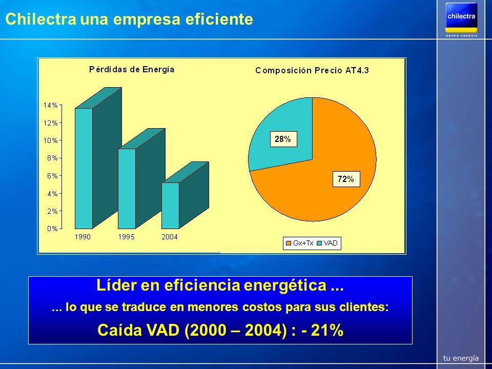 Líder en eficiencia energética ... Caída VAD (2000 – 2004) : - 21%