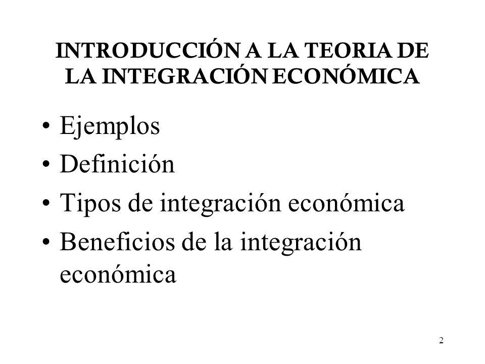 INTRODUCCIÓN A LA TEORIA DE LA INTEGRACIÓN ECONÓMICA