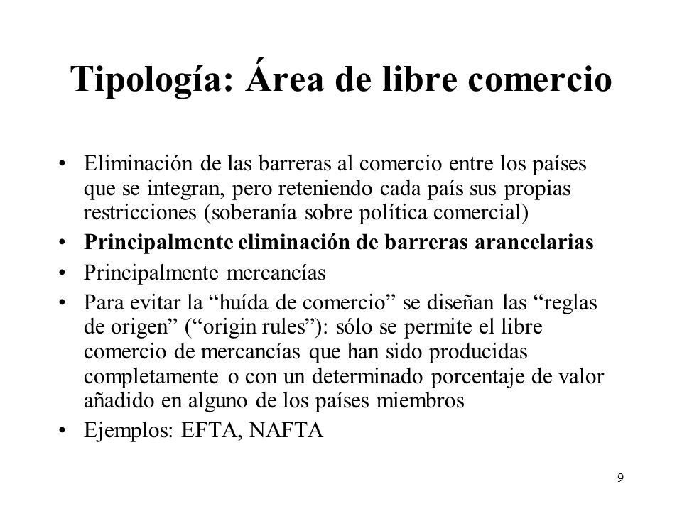 Tipología: Área de libre comercio