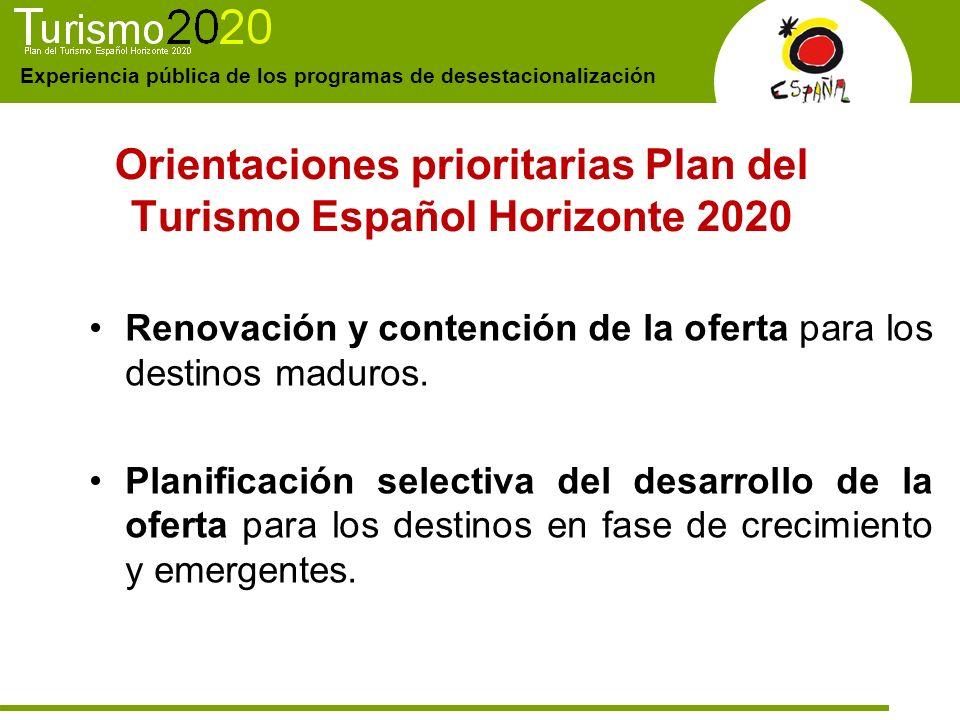 Orientaciones prioritarias Plan del Turismo Español Horizonte 2020