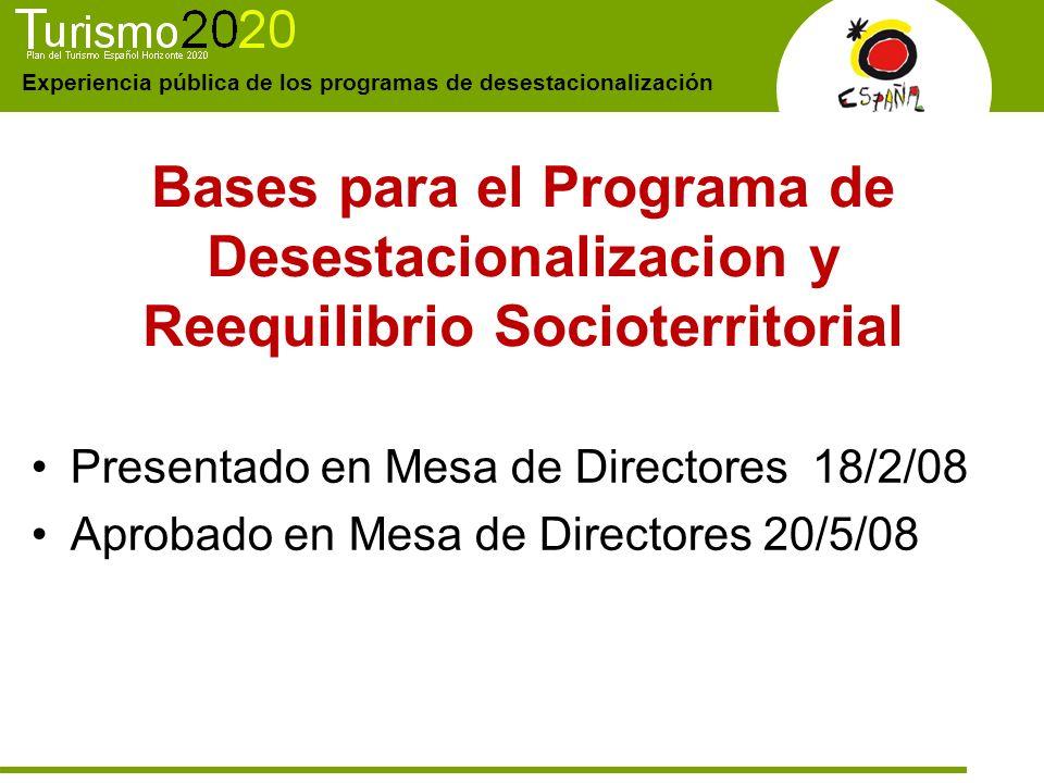Bases para el Programa de Desestacionalizacion y Reequilibrio Socioterritorial