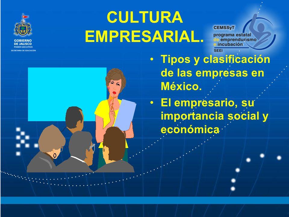 CULTURA EMPRESARIAL. Tipos y clasificación de las empresas en México.