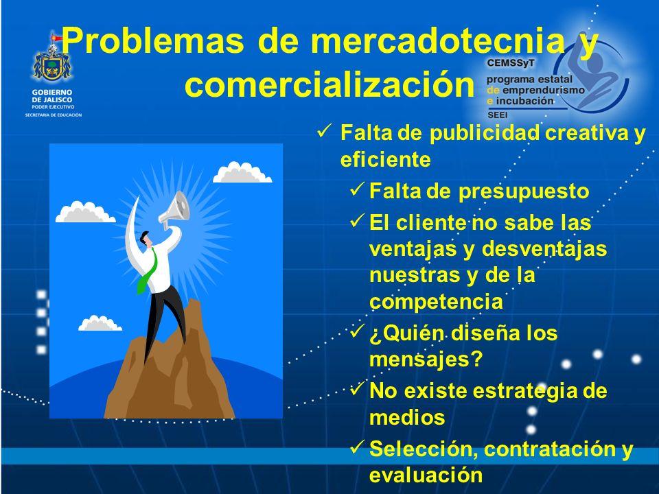 Problemas de mercadotecnia y comercialización