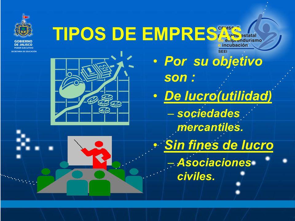 TIPOS DE EMPRESAS Por su objetivo son : De lucro(utilidad)
