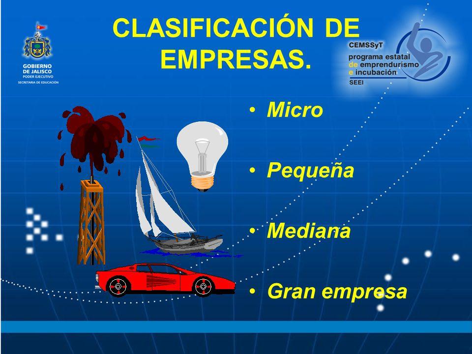 CLASIFICACIÓN DE EMPRESAS.