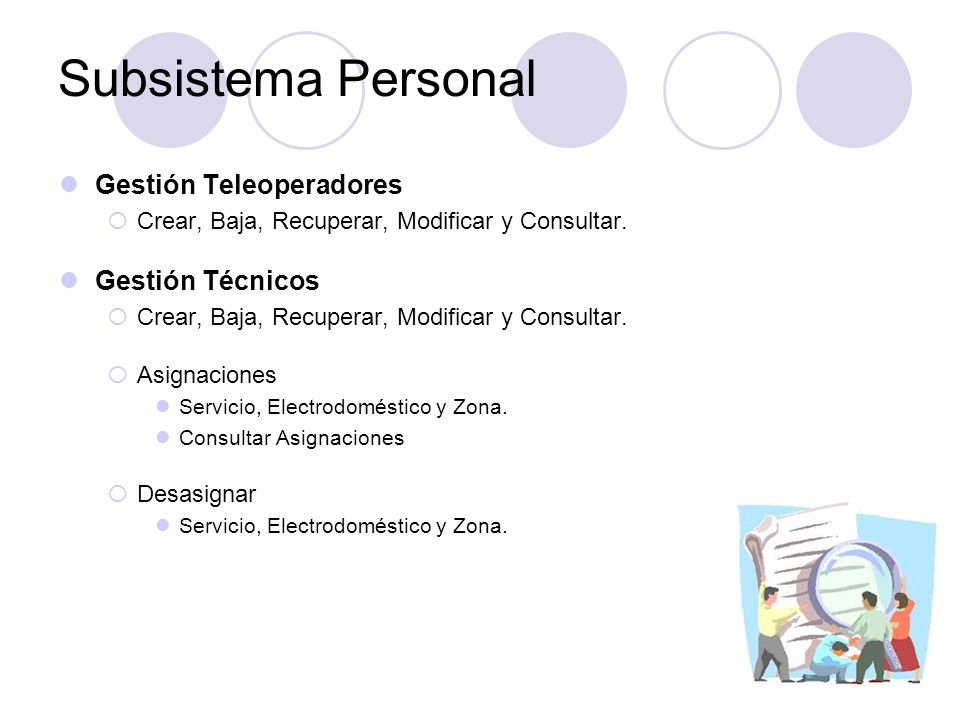 Subsistema Personal Gestión Teleoperadores Gestión Técnicos