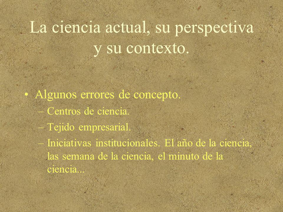 La ciencia actual, su perspectiva y su contexto.