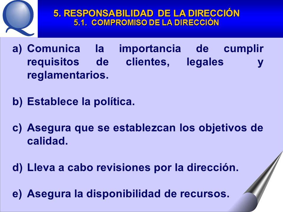 5. RESPONSABILIDAD DE LA DIRECCIÓN 5.1. COMPROMISO DE LA DIRECCIÓN