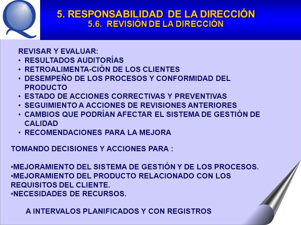 5. RESPONSABILIDAD DE LA DIRECCIÓN 5.6. REVISIÓN DE LA DIRECCIÓN