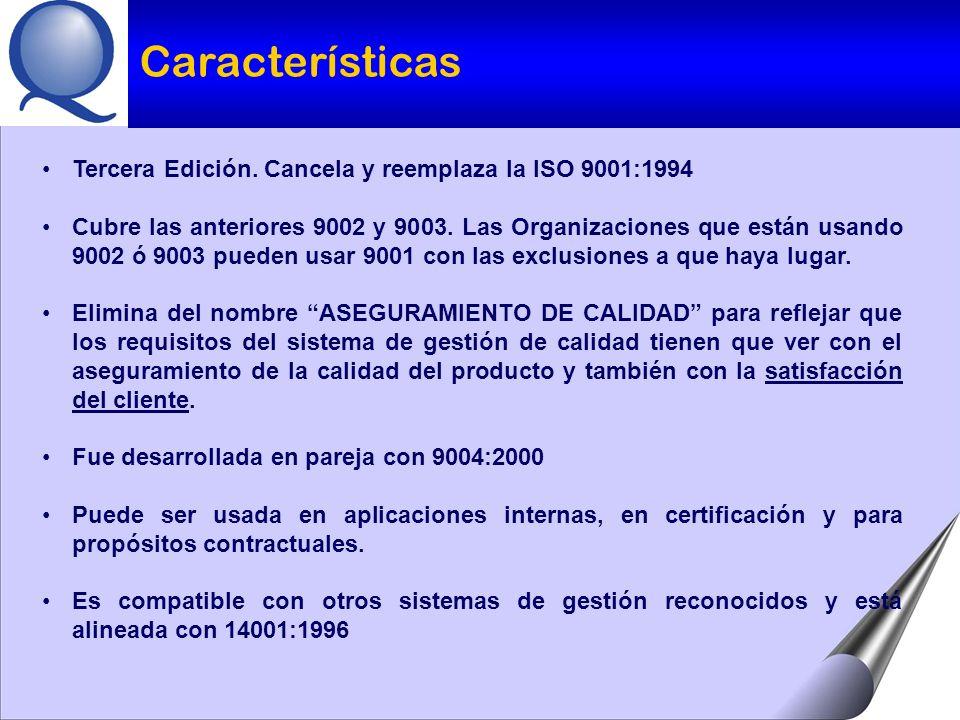 Características Tercera Edición. Cancela y reemplaza la ISO 9001:1994