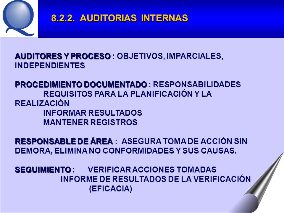 8.2.2. AUDITORIAS INTERNAS AUDITORES Y PROCESO : OBJETIVOS, IMPARCIALES, INDEPENDIENTES. PROCEDIMIENTO DOCUMENTADO : RESPONSABILIDADES.