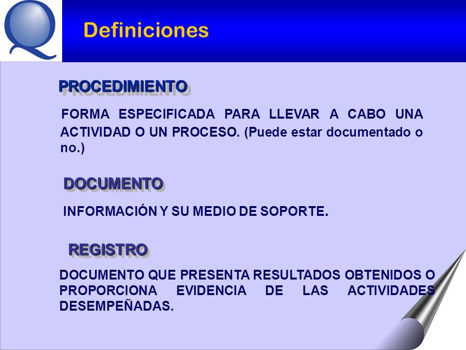 Definiciones PROCEDIMIENTO. FORMA ESPECIFICADA PARA LLEVAR A CABO UNA ACTIVIDAD O UN PROCESO. (Puede estar documentado o no.)