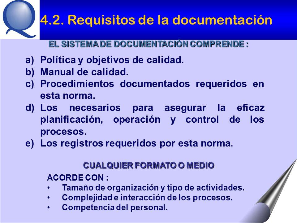 EL SISTEMA DE DOCUMENTACIÓN COMPRENDE : CUALQUIER FORMATO O MEDIO