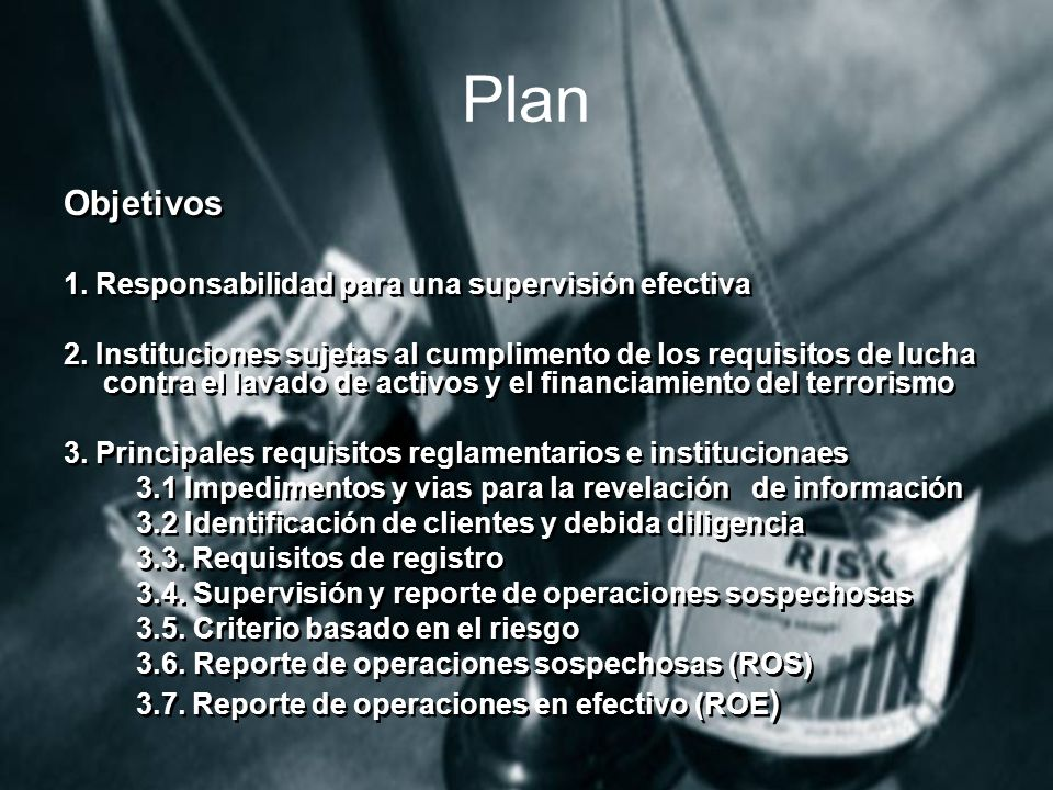 Plan Objetivos 1. Responsabilidad para una supervisión efectiva