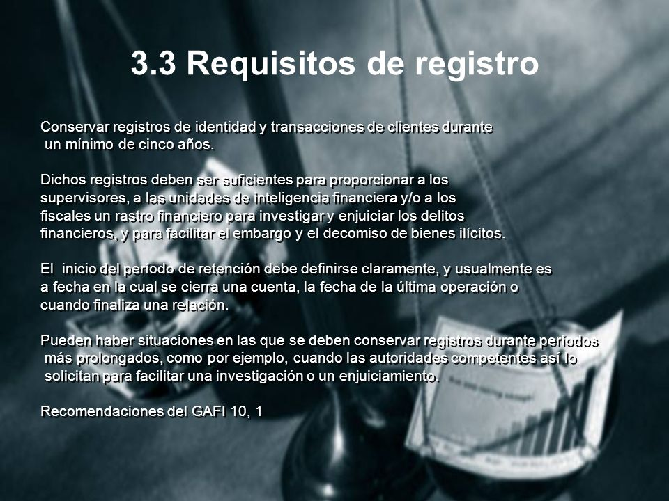 3.3 Requisitos de registro