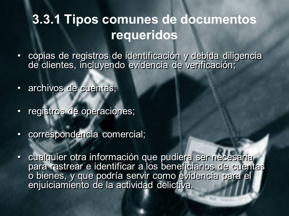 3.3.1 Tipos comunes de documentos requeridos