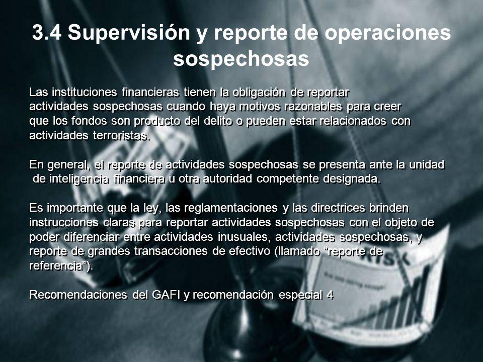 3.4 Supervisión y reporte de operaciones sospechosas