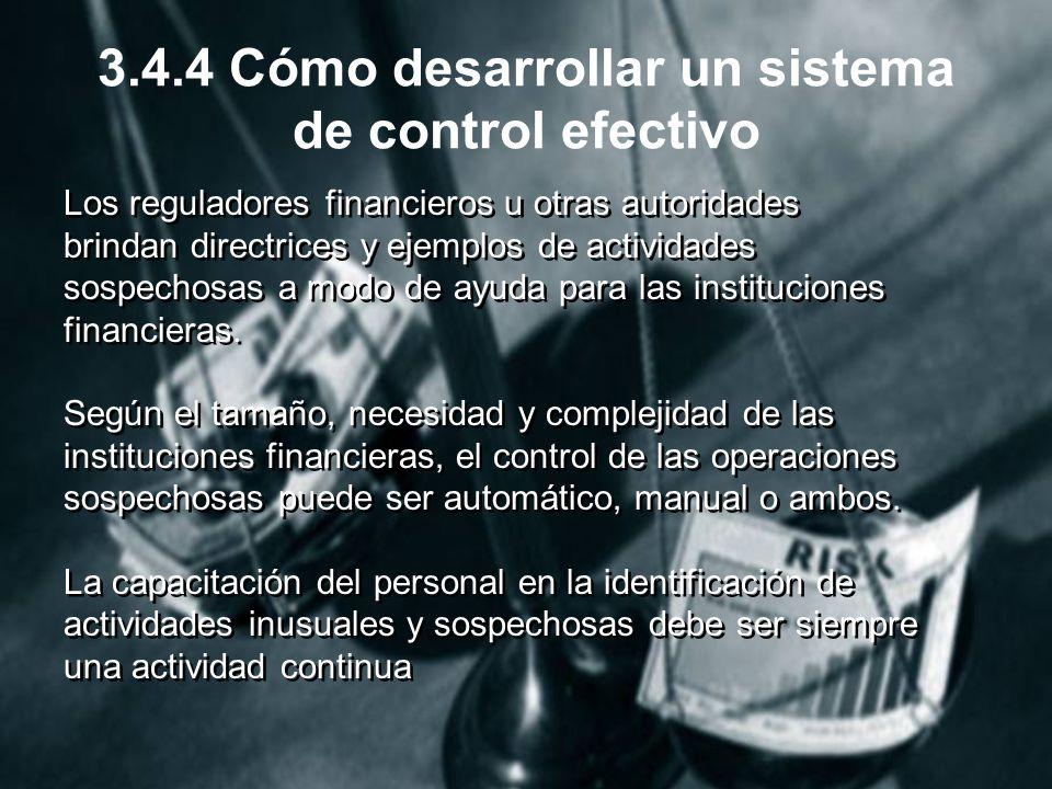 3.4.4 Cómo desarrollar un sistema de control efectivo