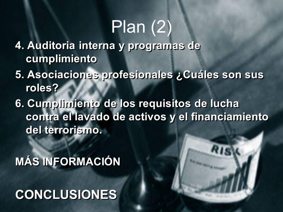 Plan (2) CONCLUSIONES 4. Auditoria interna y programas de cumplimiento