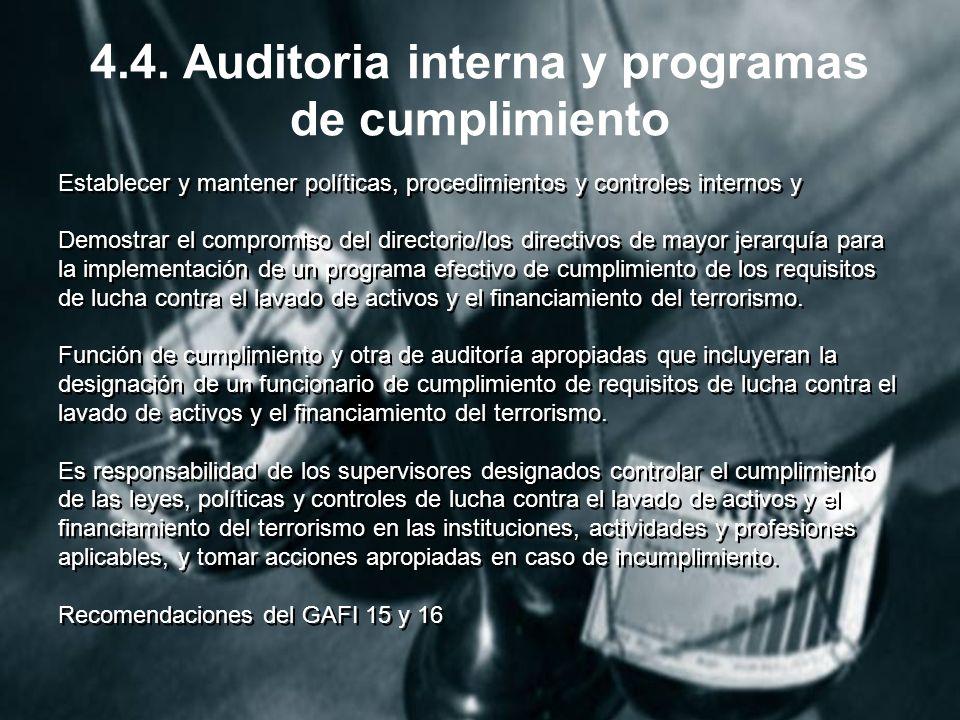 4.4. Auditoria interna y programas de cumplimiento